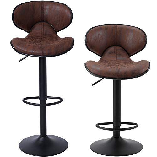 Adjustable Back Bar - SUPERJARE Adjustable Bar Stools, Swivel Barstool Chairs with Back, Pub Kitchen Counter Height, Set of 2, Rustic Brown