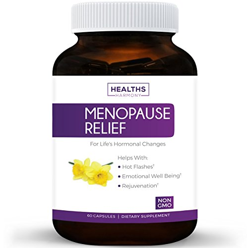 Best Menopause Relief (NON-GMO) Helps Reduce Menopausal & Perimenopause Symptoms - Hot Flashes & Night Sweats - Female Hormonal Support Supplement for Hormone Balance with Black Cohosh - 60 Capsules by Healths Harmony