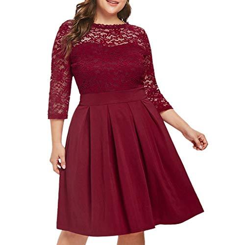 (Aniywn Women's Vintage Floral Lace Dress Cocktail Party Wedding Formal Swing Midi Dresses Plus Size Wine)