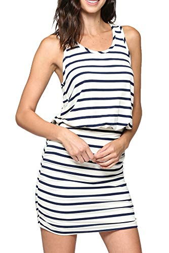 0256f01dc18c34 LaClef Women's Mini Ruched Tank Shift Dress (Ivory/Navy Stripe, XL)