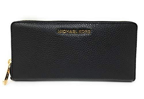 Michael Kors Jet Set Travel Continental Leather Wallet/Wristlet - Black/Gold