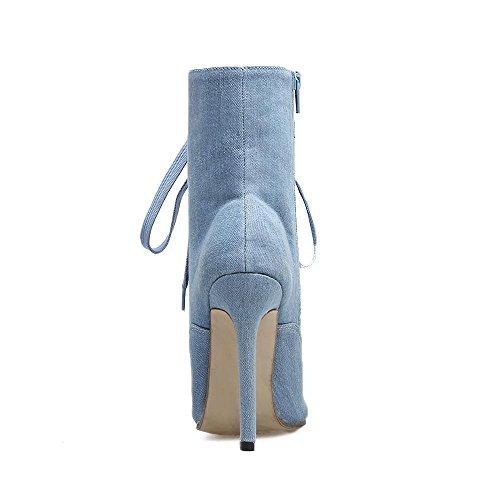 L@YC Botas De Las Mujeres Botas De OtoñO Y De Invierno Denim Con Punta De Encaje Con Botas De Guerra Y La Noche / Casual artificial De Cuero Blue