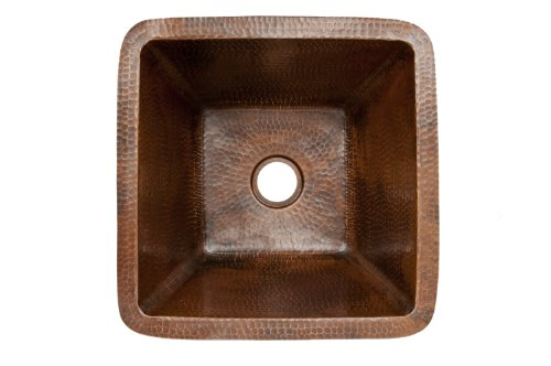 Premier Copper Products BS15DB2 15-Inch Universal Square Hammered Copper Bar Sink with 2-Inch Drain Size, Oil Rubbed Bronze by Premier Copper Products (Image #1)