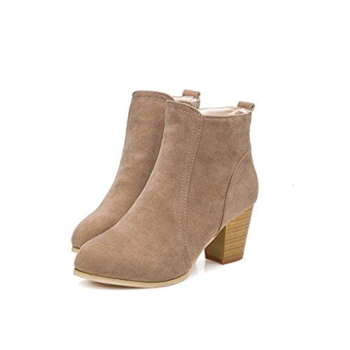 Zapatos interiores, Amlaiworld Mujeres Tobillo Tacones Altos Botas Martin Botas marrón