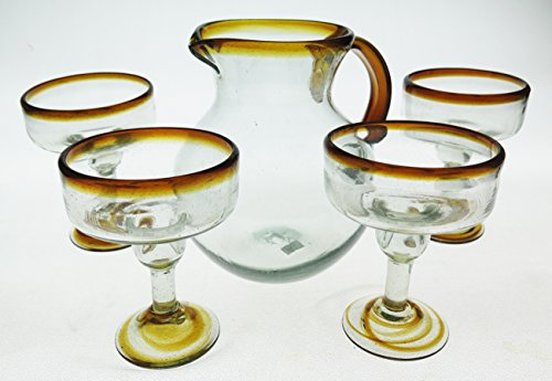 Mexican Margarita Glasses and matching pitcher, Amber Rim (set of 5) ()