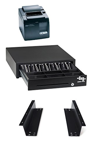 POS Hardware Bundle for Square Stand- Cash Drawer, Mounting Brackets, Thermal Receipt Printer [Compatible with Square Stand]