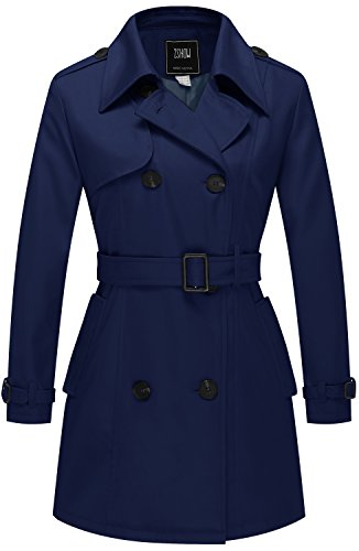 ZSHOW Women's Double-Breasted Twill Belted Trench Coat US Small Navy