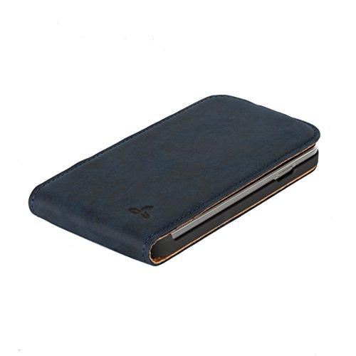 Snakehive® Samsung Galaxy S4 Funda Volteable de la Colección Vintage en cuero nubuck con ranuras para tarjetas de crédito/billetes (Azul Marino) Azul Marino