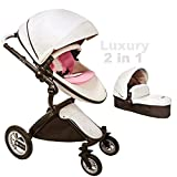 Very Eye Catching Egg Stroller Baby pram Bassinet Combo 3in1 Travel System 2018 Fashion Luxurious Umbrella Stroller for New Born&Toddler(#Stroller-White) For Sale