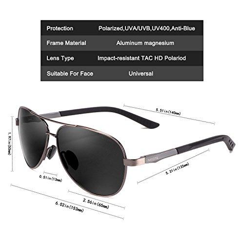 NIEEPA Aviator Polarized Sunglasses Mens Al-Mg Metal Ultra Glasses Grey Lens/Gun Frame