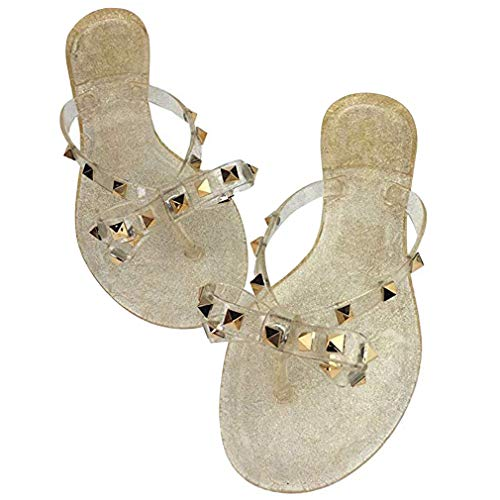 Women Stud Bow Flip-Flops Sandals Beach Flat Rivets Rain Jelly Shoes (9.5 B(M) US, Gold)