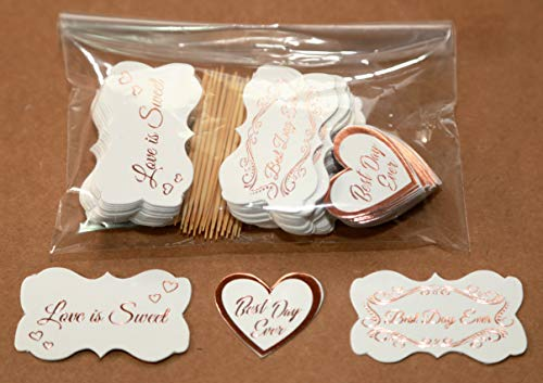 Fancy Frame Label Stickers Rose Gold Foil - 90 Pack Party Favors - Closing Envelopes, Tags, Cupcake Toppers, Hearts Labels, Off-White Card Stock, Wedding Party. (Label 1 Gold)