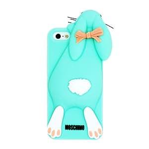 Azul Moschino coniglio La funda de silicona suave cubierta protectora para Apple iPhone 5 5s 5G 5th Generation with CableCenter Cable Tie