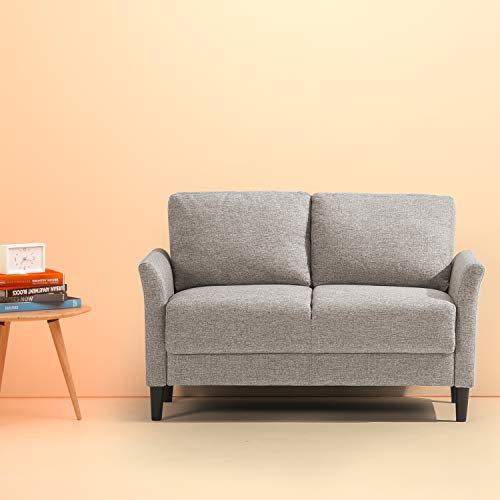 (Zinus Jackie Classic Upholstered 53.5 Inch Sofa Couch / Loveseat, Soft Grey)