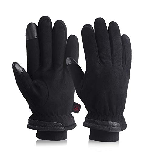 Mens Winter Gloves Waterproof & Touchscreen With Suede Leather Cold Weather Thermal Protection For Low Temperatures -30℉