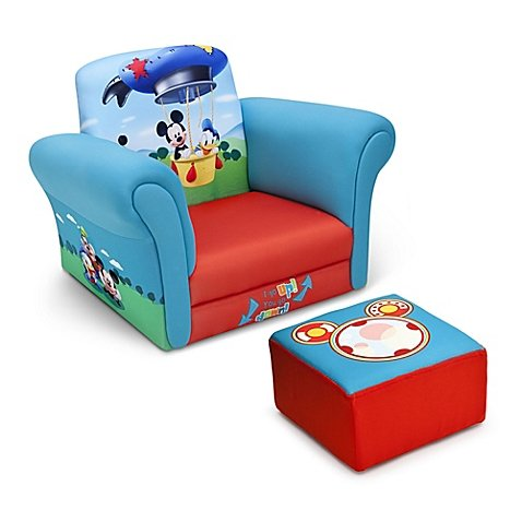 Delta Disney Mickey Mouse Children's Chair and Ottoman Set in Blue/Red (Mickey Mouse Chair And Ottoman)