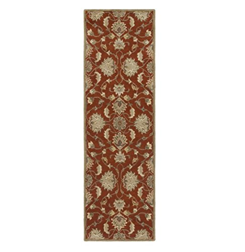 Diva At Home 2.5' x 8' Alexandria Burnt Sienna, Khaki Brown and Fog Gray Hand Tufted Wool Area Throw Rug Runner (Burnt Rug Sienna Wool)