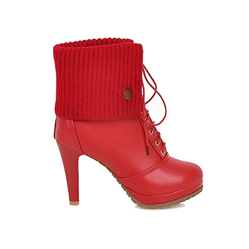 AllhqFashion Womens Lace-up Round Closed Toe High-Heels PU Low-top Boots Red tyras
