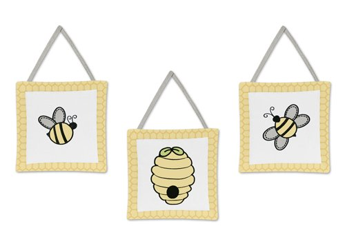 Sweet Jojo Designs Yellow and White Wall Hanging Accessories for Honey Bumble Bee Hive Bedding Set