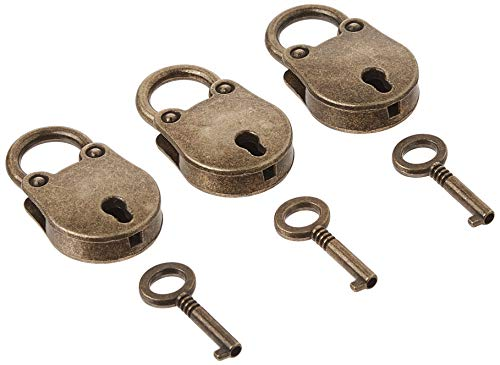 kathson Old Vintage Antique Style Mini Archaize Padlocks Key Lock with Key (Lot of 3,Antique,Love)) (Antique Style) (Padlock Trunk)