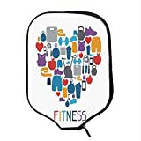 YOLIYANA Fitness Durable Racket Cover,Sports and Healthcare Icons Forming a Heart Shape Clean Eating Athletic Training Decorative for Sandbeach,One Size