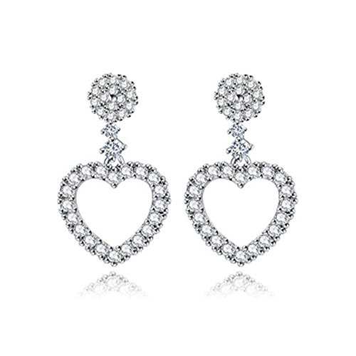 [YuanS Shaped Plating White Gold Inlaid Cubic Zirconia Heart Dangle Earrings for Women] (Simple Halloween Costumes For High School)