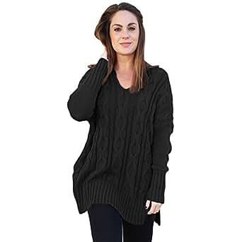Newbestyle Women's Loose Oversize Chunky Knit Jumper Pullover Asymmetric Hem Sweater Top S-2XL - Black - 2X-Large