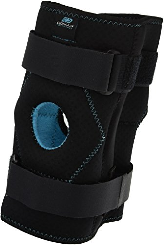 (DonJoy Advantage DA161KB02-BLK-S, M Stabilizing Double Hinged Knee Wrap Brace for Sprains, Strains, Media Lateral Instability, Arthritis, Patella Buttress)