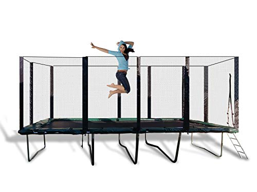 Happy Trampoline - Galactic Xtreme Gymnastic Rectangle Trampoline with Safety Net Enclosure - Heavy Duty Commercial Grade - 550 lbs Jumping Capacity on Frame & Springs, 10 X 20 Ft ()