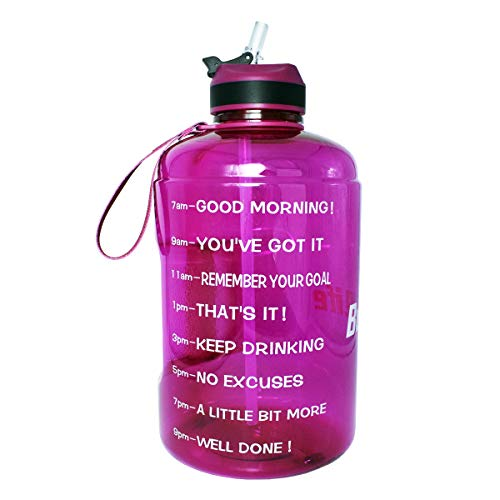 QuiFit Gallon Water Bottle with Straw and Motivational Time Marker BPA Free Easy Sipping 128/73/43 oz Large Reusable Sport Water Jug for Fitness and Outdoor Enthusiasts (Fuchsia,1 Gallon)