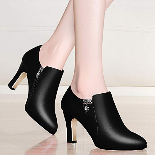 high gules Ladies side able Work shoes rough heel style pointed AJUNR shoes zippers shoes shoes diamond Women's pqxPnYa