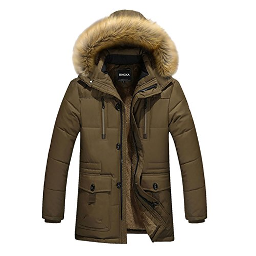 BINGKA Mens Winter Thicken Cotton Jacket With Faux Fur Ho...