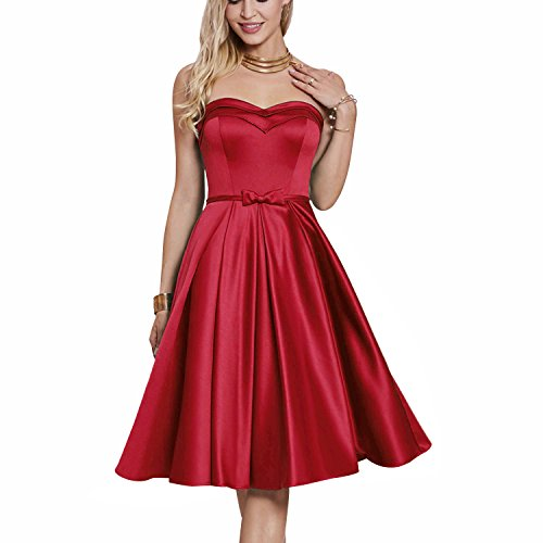CLOCOLOR Women's Homecoming Dress Strapless Satin Short Party (Red Satin Strapless Dress)