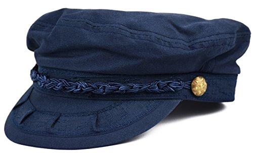 Deewang Mens Light Weight, Greek Fisherman Sailor Cap, Fiddler, Summer Hat (Navy, L/XL)
