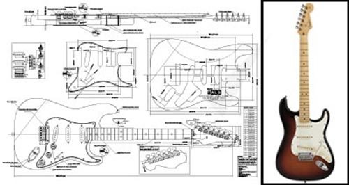 Plan of Fender Stratocaster Electric Guitar - Full Scale Print