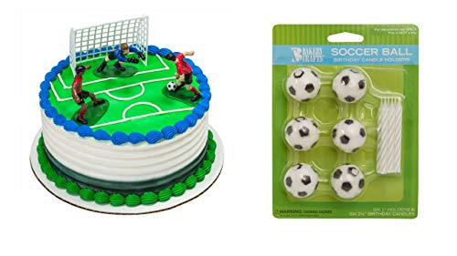 Soccer Players Cake Topper PLUS 6 Soccer Ball Candles and Holders by National Cake Supply