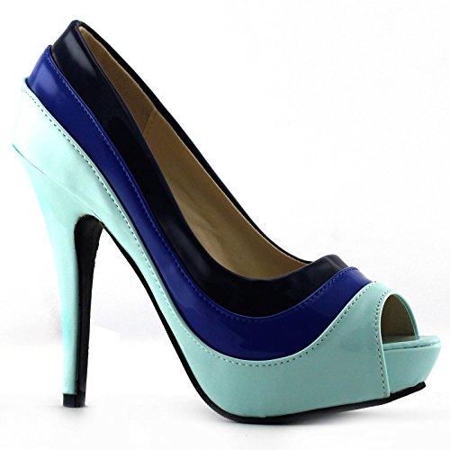 Story de alto tacón Show tres fiesta Azul tono plataforma de Stiletto sandalias lf30465 bombas HwqRd