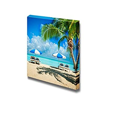 Beautiful Scenery Landscape Vacation and Tourism Concept Sunbeds on The Paradise Beach - Canvas Art Wall Art - 12