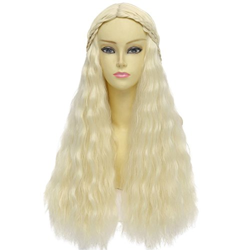 [RightOn 28'' Charming Long Curly Fluffy Cosplay Costume Party Wigs (Light Blonde)] (Daenerys Targaryen Costume Hair)