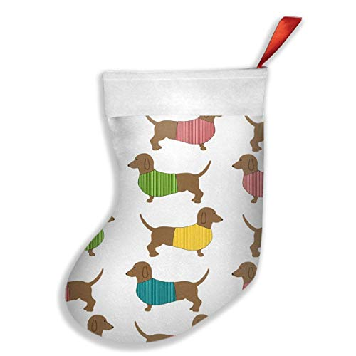 KSSChr Dachshund Dog Cute Wallpaper Xmas Christmas Stockings Xmas Party Mantel Decorations Ornaments for Decoration Kids Gift Holding Stocking Tree Ornament ()