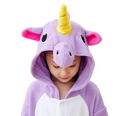 Kids Unisex Animal Pajamas One Piece Anime Onesie Unicorn Costumes Homewear Purple 2-4 by Mybei (Image #4)'