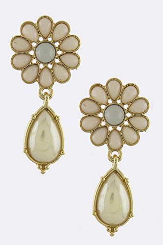 KARMAS CANVAS GLOSSY SUNBURST JEWEL EARRINGS (Ivory) (Drop Crislu Necklace)