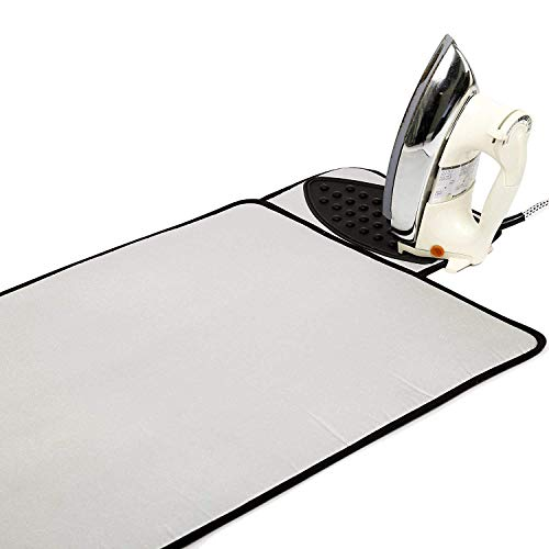 Encasa Homes Ironing Mat / Pad - Metallic Silver (Large 27 x 20 inch) with 5mm Foam Padding & Silicone Iron Rest for Steam Pressing on Tabletop or Bed - Heat Reflective, Portable, Quilting