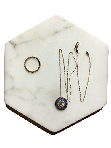 Marbleobject Hexagon 6 inch Italian Calacatta Gold Flat tray, Key tray, Jewelry tray, Wallet tray,