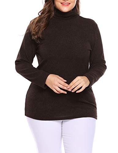 IN'VOLAND Women's Plus Size Turtleneck Sweater Pullover Stretch Knit Tunic Long Sleeve Slim Sweater Jumper
