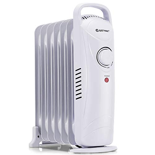 COSTWAY 700W Electric Radiator Heater Portable Oil Filled Radiator Space Heater with Digital Controls