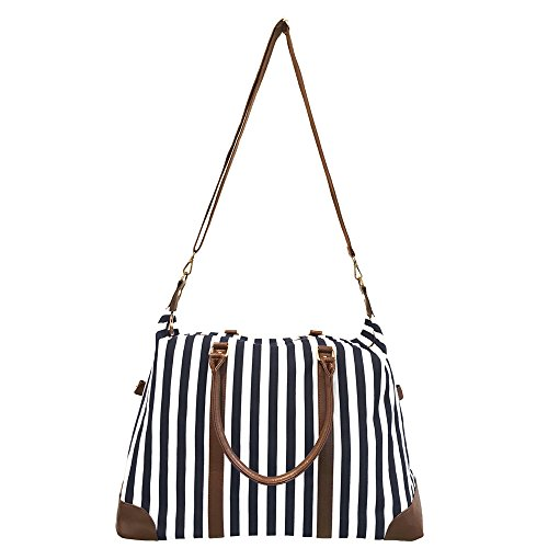 Cyber-Monday-Sale-2017, Holiday-Deals, Sales - Black Travel Tote, Lulu Dharma Womens Striped Weekender Bag, Duffle Bag, Overnight Bag, Travel Bag, Luggage, Suitcase, Oversized Bag, Carry On Luggage by Lulu Dharma
