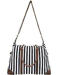 Lulu Dharma Striped Weekender Bag, Duffle Luggage Suitcase Overnight Travel Tote, Best Handbag, Durable Bag -...