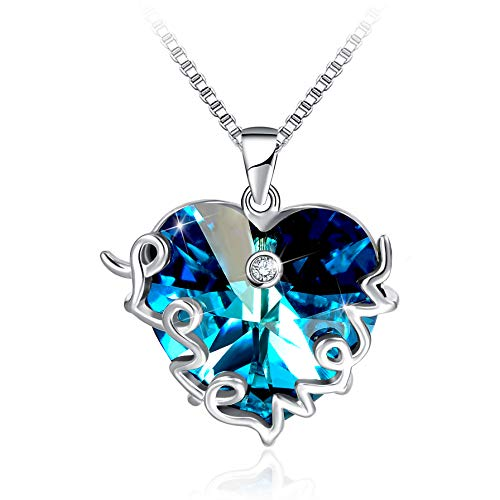 Mother's Birthday Gift I Love You Mom S925 Sterling Silver Heart Pendant Necklace (Swaro)