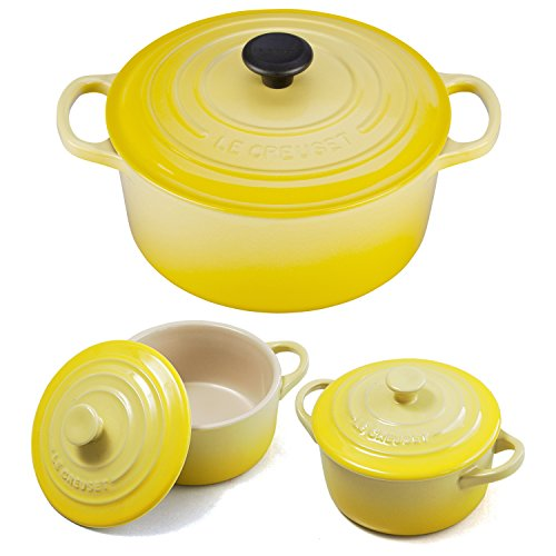 Le Creuset Signature Soleil Yellow Enameled Cast Iron 4.5 Quart Round French Oven with 2 Free Stoneware Cocottes